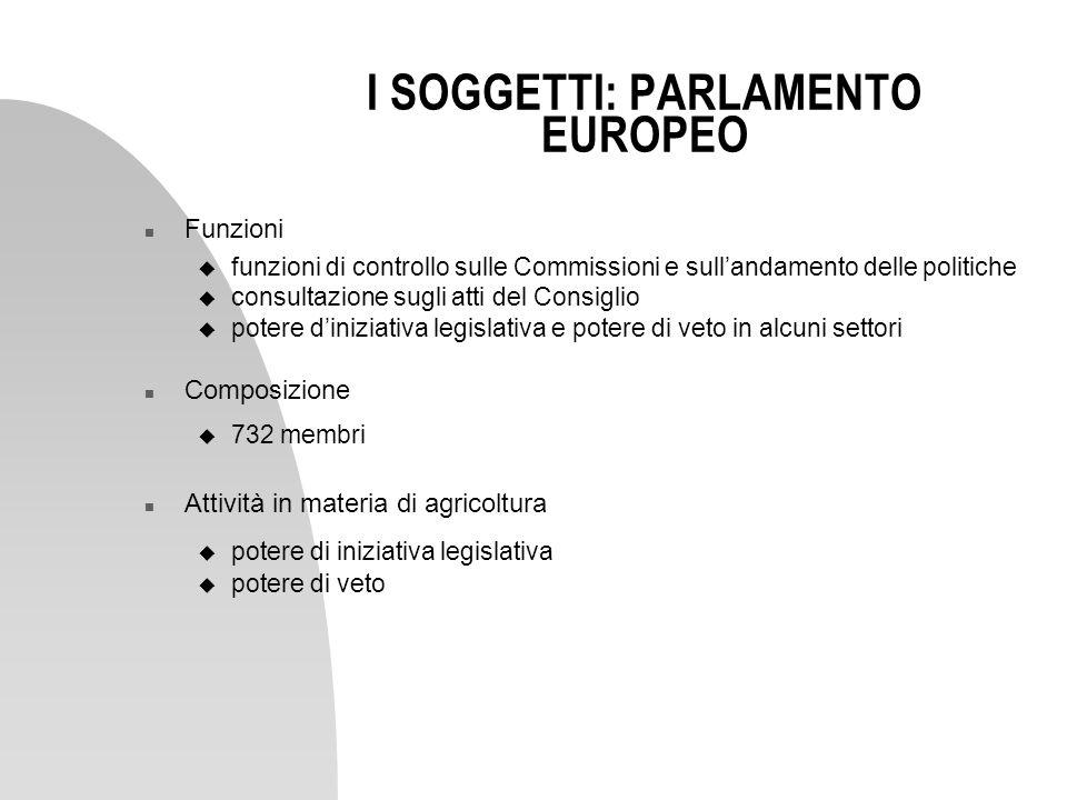 I SOGGETTI: PARLAMENTO EUROPEO