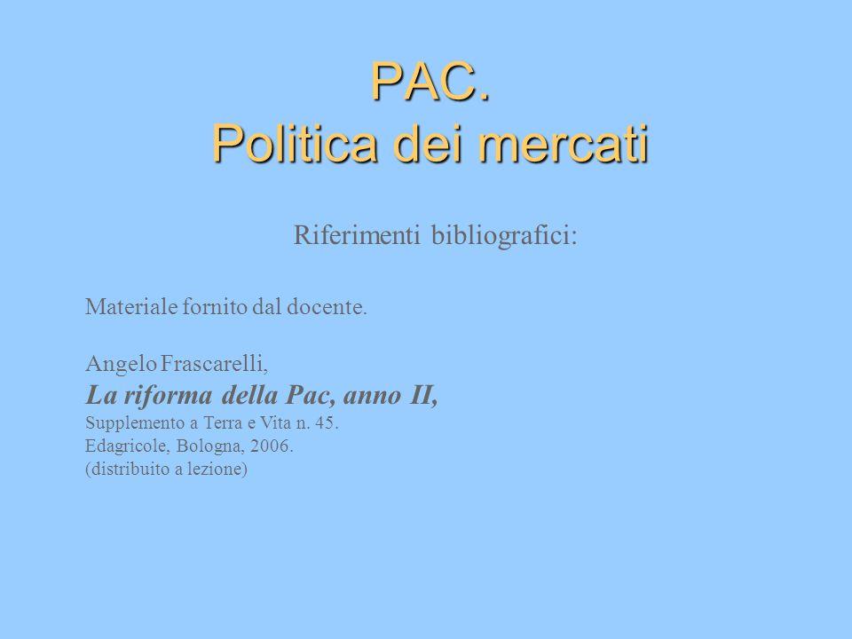 PAC. Politica dei mercati