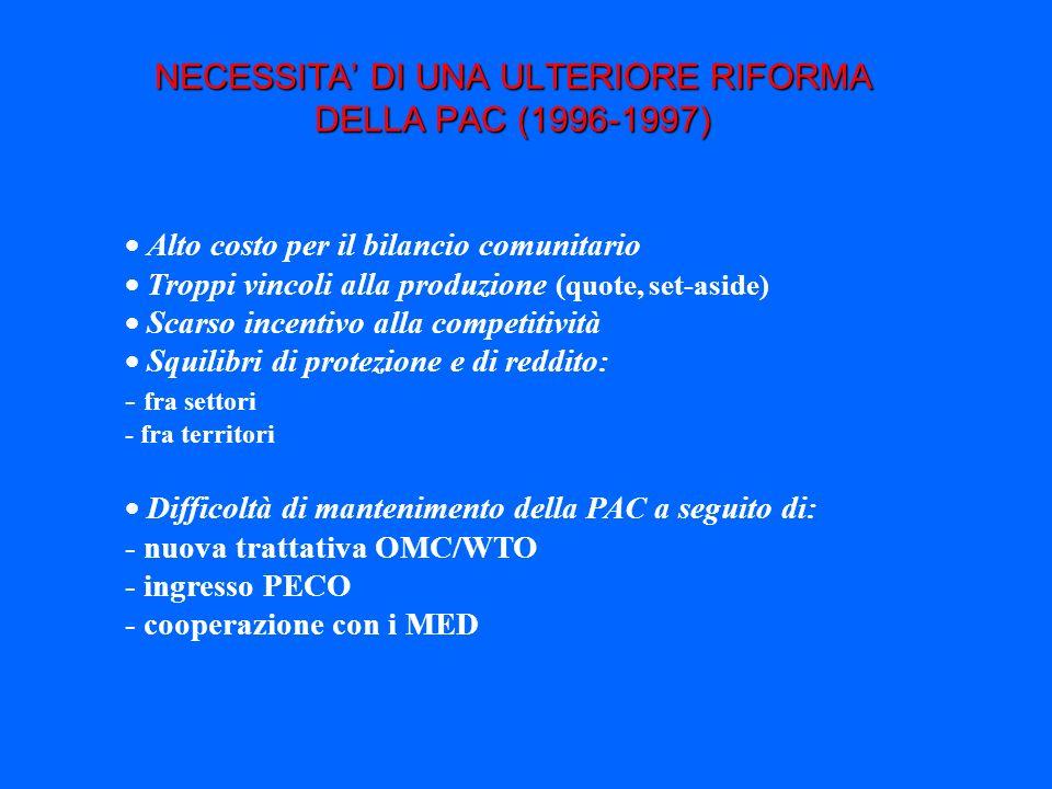 NECESSITA' DI UNA ULTERIORE RIFORMA DELLA PAC (1996-1997)