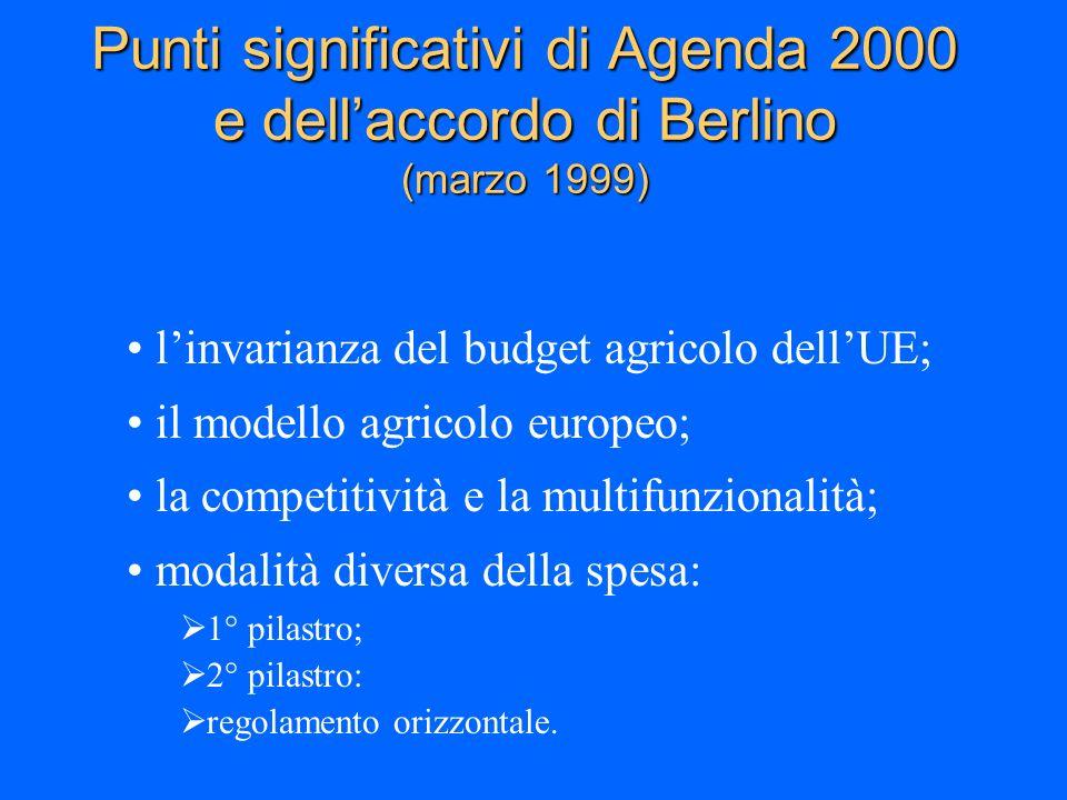 Punti significativi di Agenda 2000 e dell'accordo di Berlino (marzo 1999)