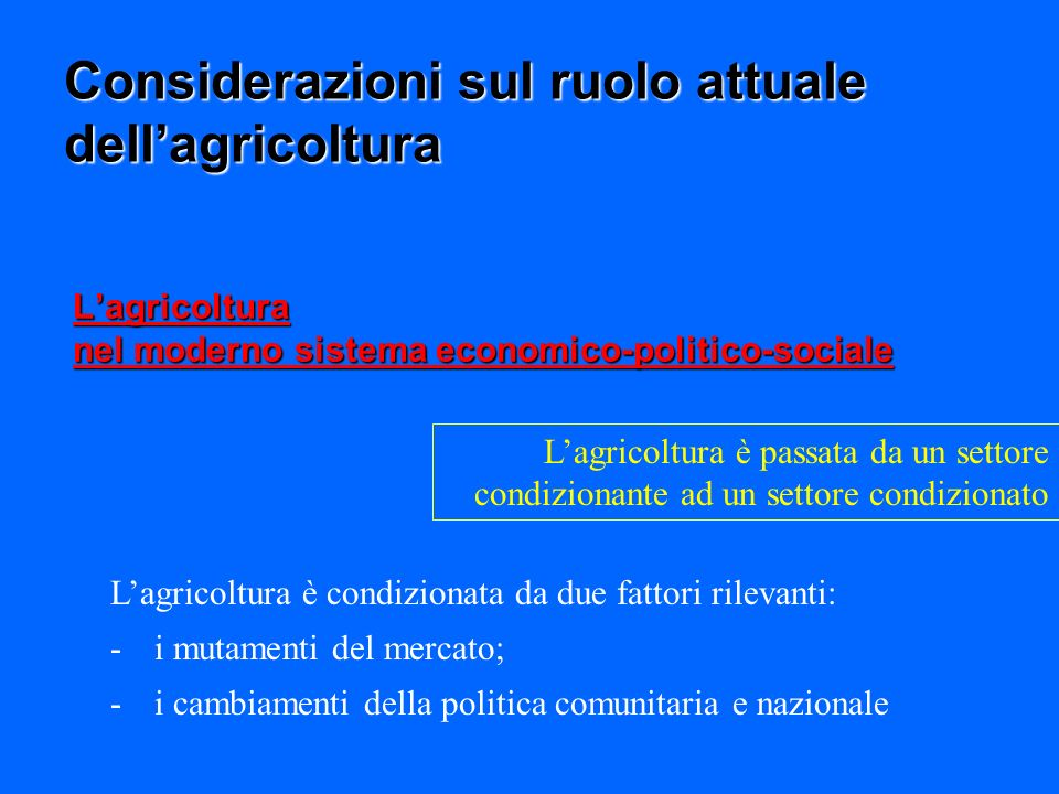 L'agricoltura nel moderno sistema economico-politico-sociale