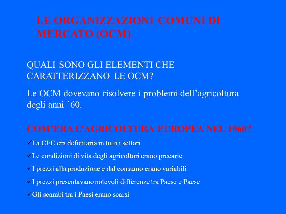 LE ORGANIZZAZIONI COMUNI DI MERCATO (OCM)