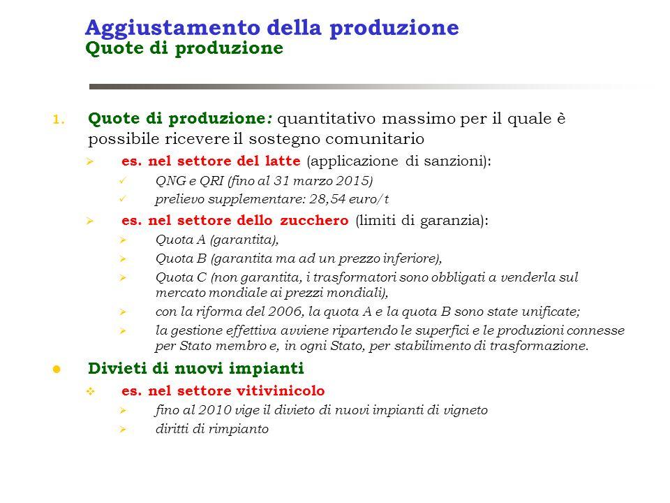 Aggiustamento della produzione Quote di produzione
