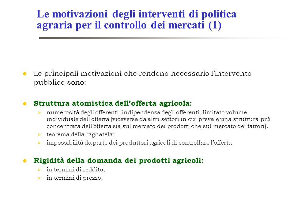 Le motivazioni degli interventi di politica agraria per il controllo dei mercati (1)