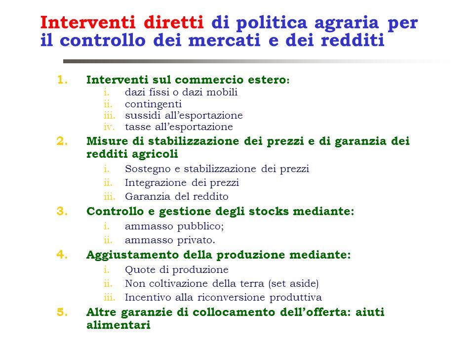 Interventi diretti di politica agraria per il controllo dei mercati e dei redditi