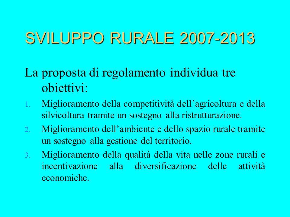 SVILUPPO RURALE 2007-2013 La proposta di regolamento individua tre obiettivi: