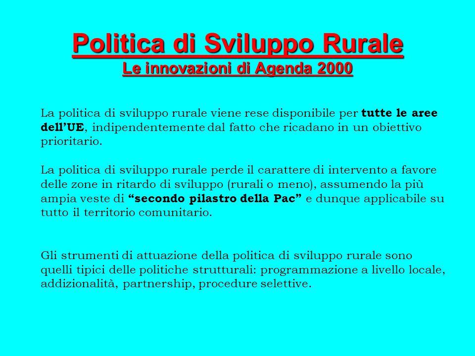 Politica di Sviluppo Rurale Le innovazioni di Agenda 2000