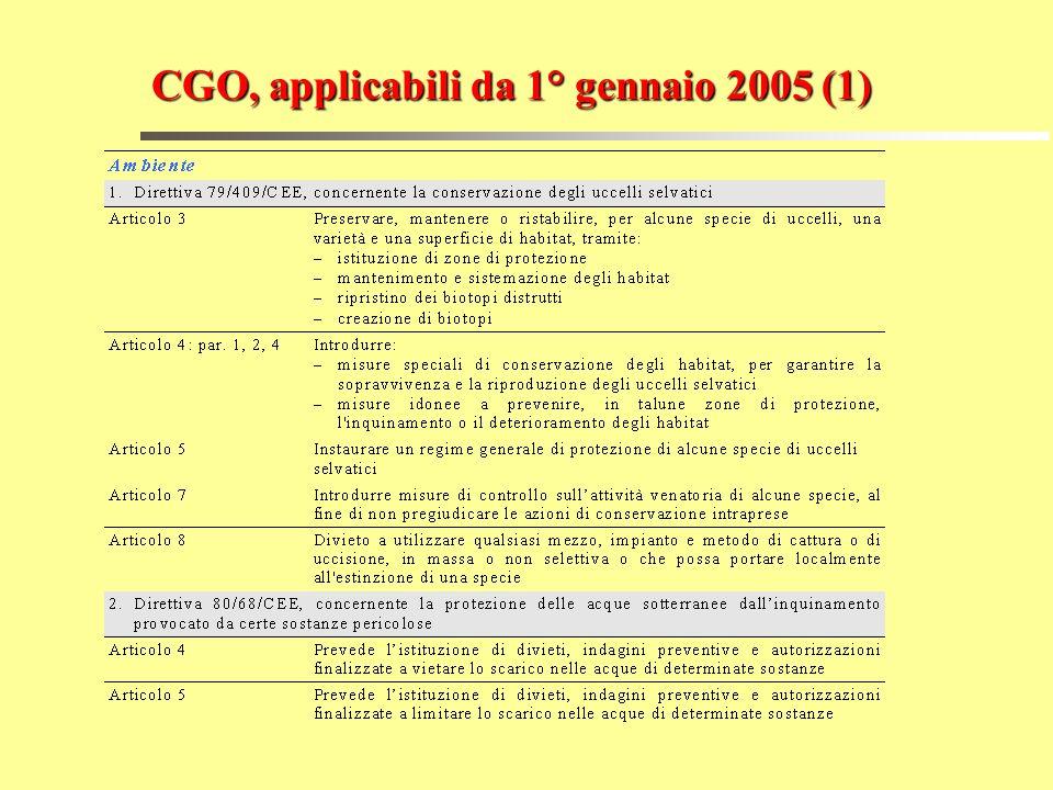 CGO, applicabili da 1° gennaio 2005 (1)