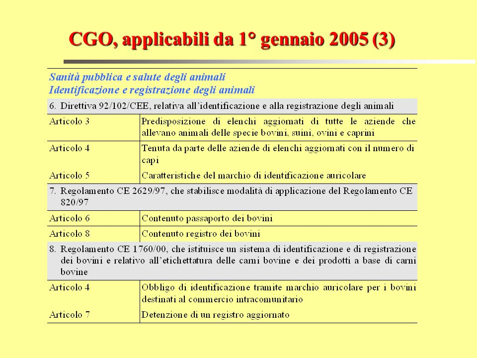 CGO, applicabili da 1° gennaio 2005 (3)