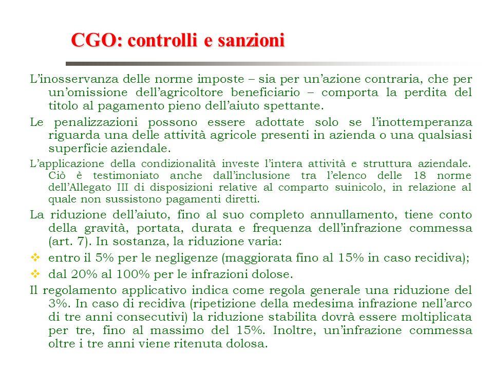 CGO: controlli e sanzioni