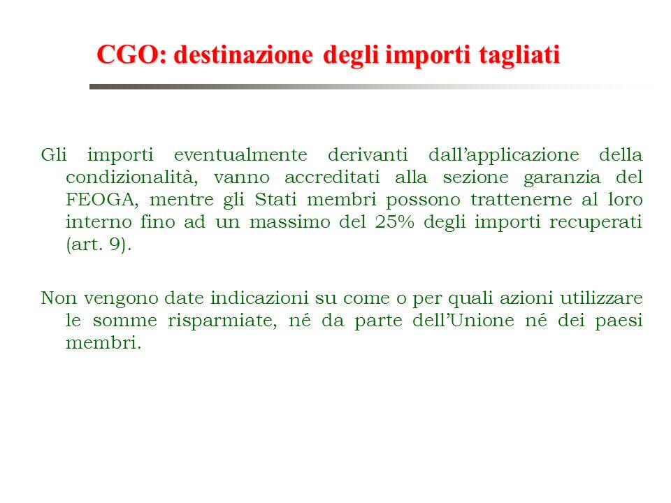 CGO: destinazione degli importi tagliati
