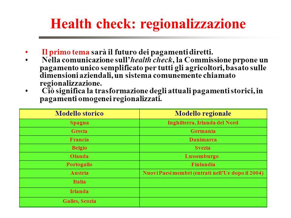 Health check: regionalizzazione