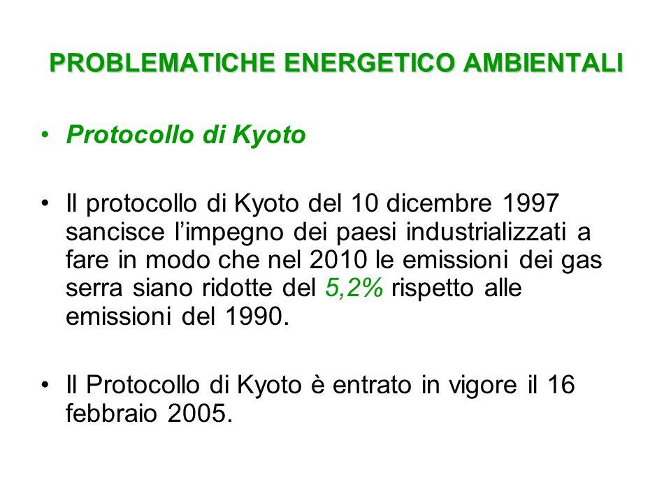 PROBLEMATICHE ENERGETICO AMBIENTALI
