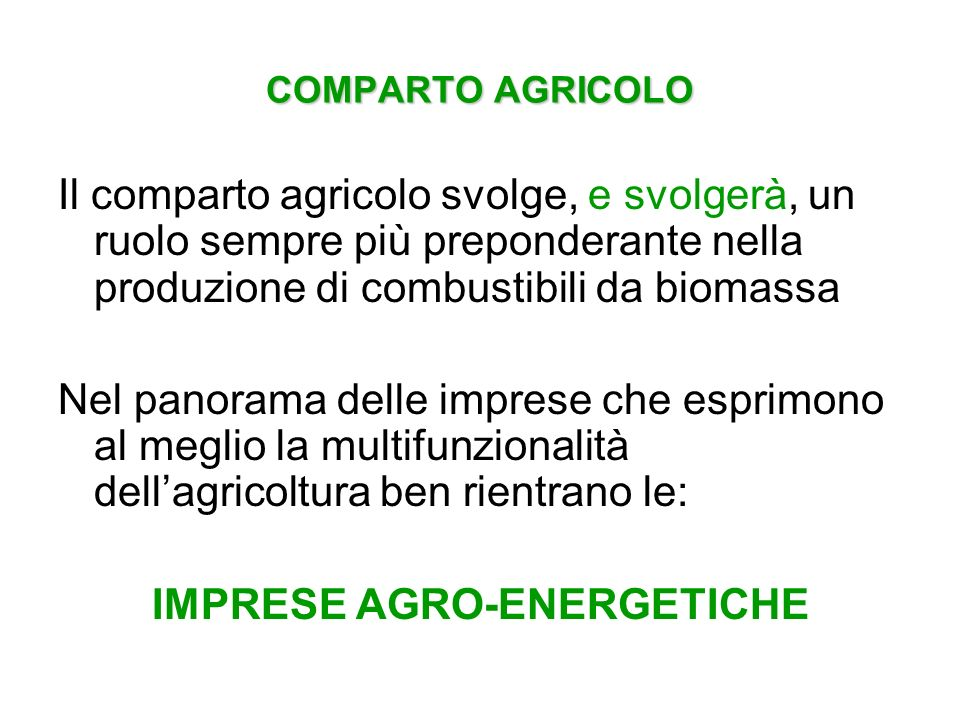 IMPRESE AGRO-ENERGETICHE