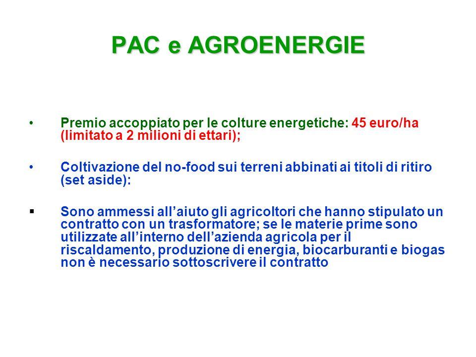 PAC e AGROENERGIE Premio accoppiato per le colture energetiche: 45 euro/ha (limitato a 2 milioni di ettari);