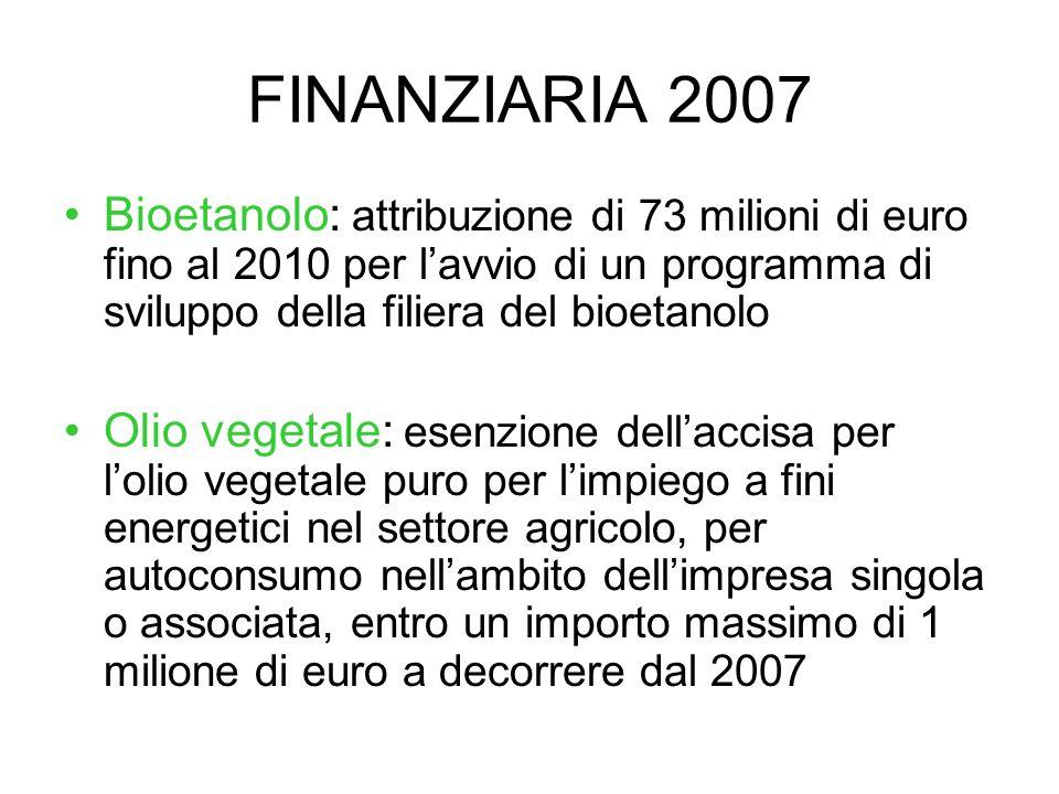 FINANZIARIA 2007 Bioetanolo: attribuzione di 73 milioni di euro fino al 2010 per l'avvio di un programma di sviluppo della filiera del bioetanolo.