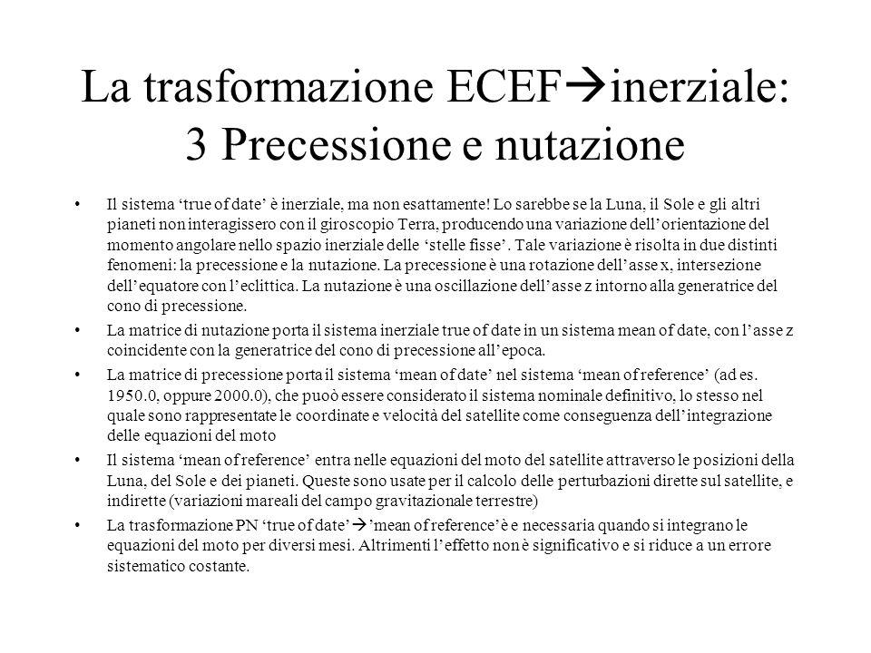 La trasformazione ECEFinerziale: 3 Precessione e nutazione