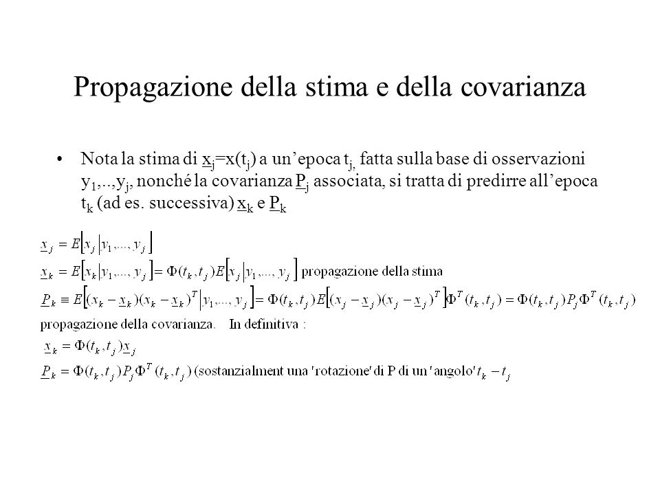 Propagazione della stima e della covarianza