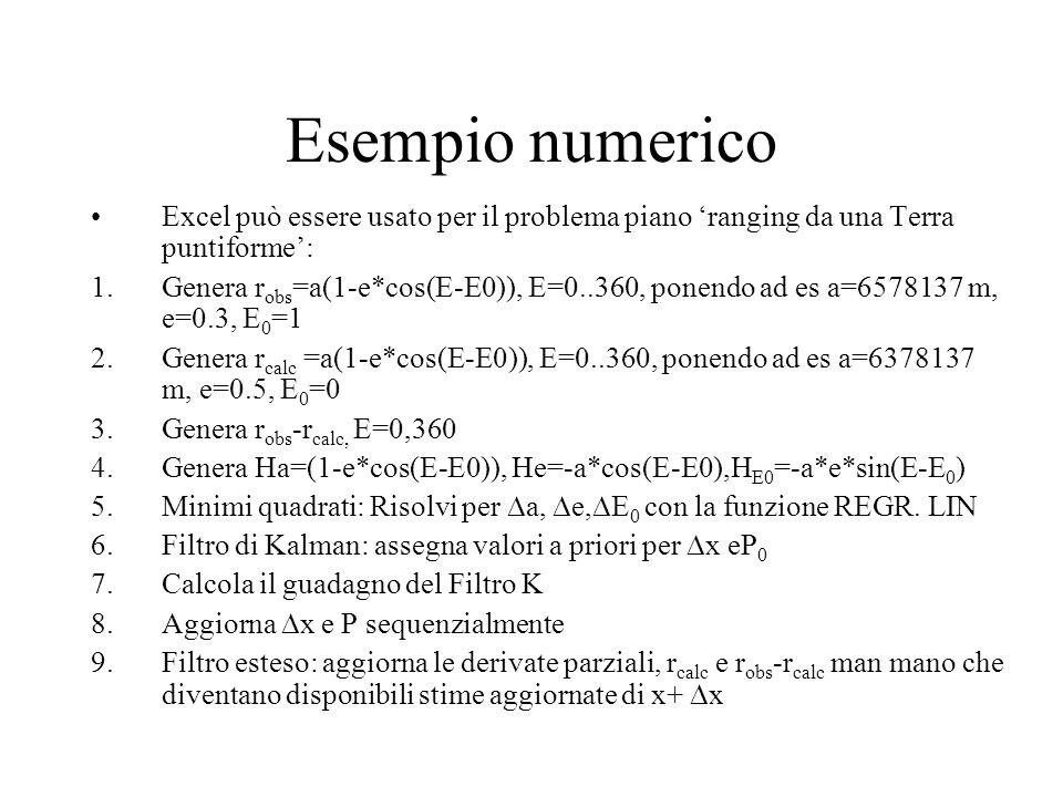 Esempio numerico Excel può essere usato per il problema piano 'ranging da una Terra puntiforme':