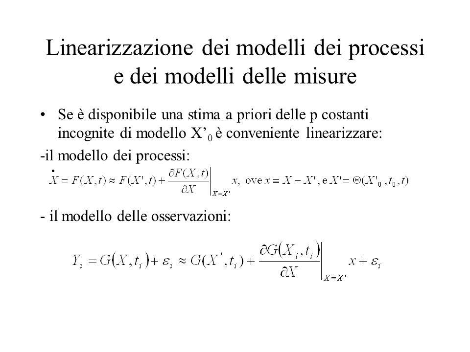 Linearizzazione dei modelli dei processi e dei modelli delle misure