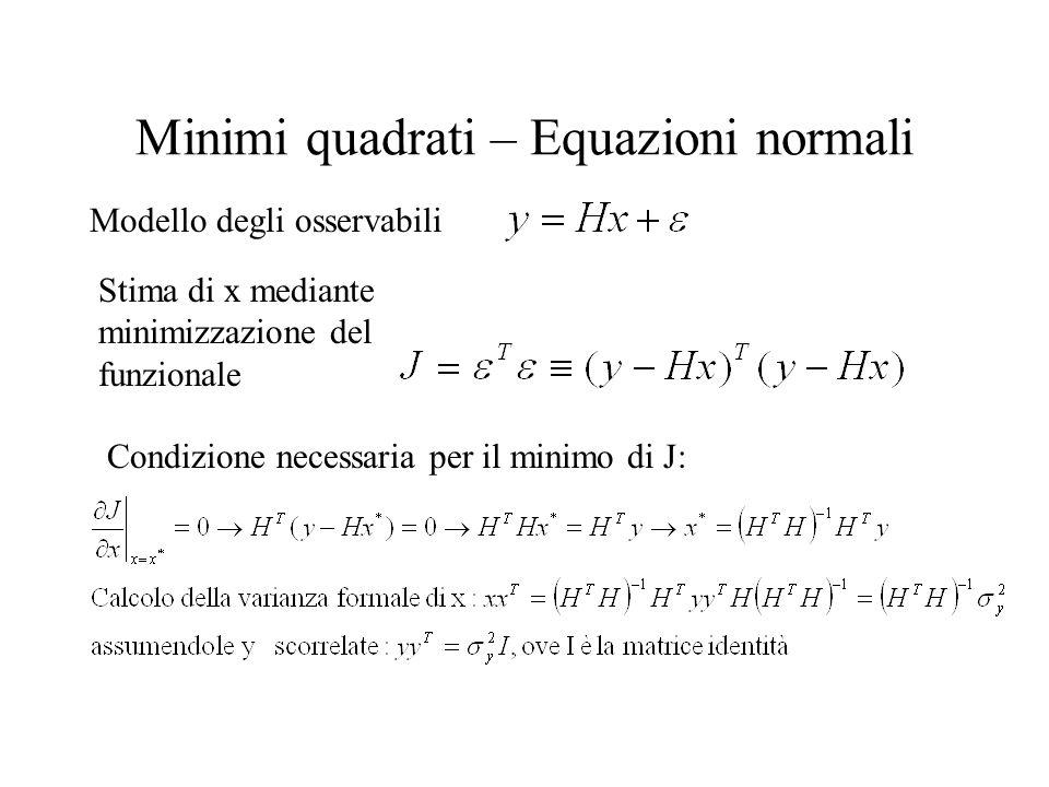 Minimi quadrati – Equazioni normali