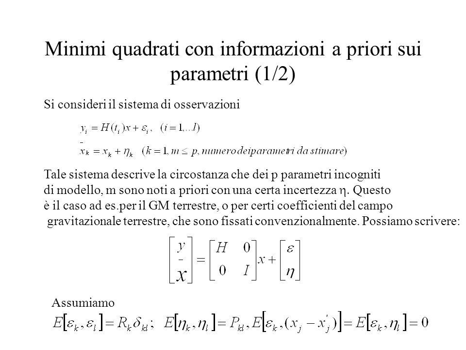 Minimi quadrati con informazioni a priori sui parametri (1/2)