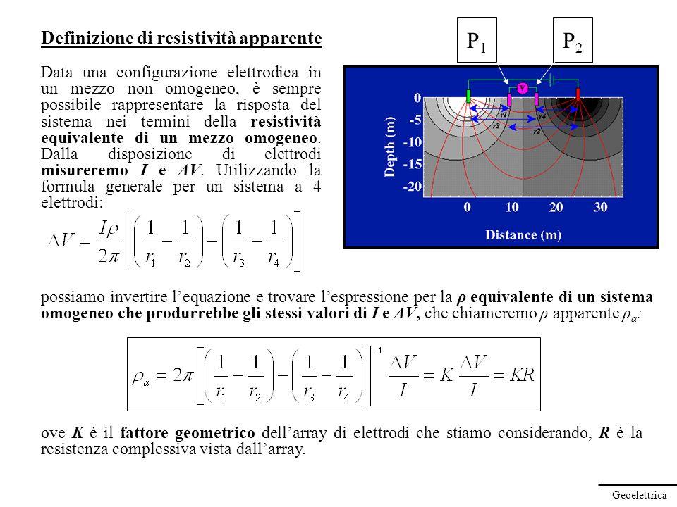 P1 P2 Definizione di resistività apparente