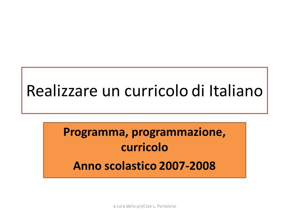 Realizzare un curricolo di Italiano