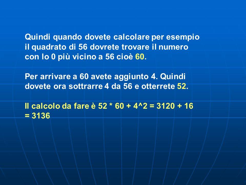 Quindi quando dovete calcolare per esempio il quadrato di 56 dovrete trovare il numero con lo 0 più vicino a 56 cioè 60.