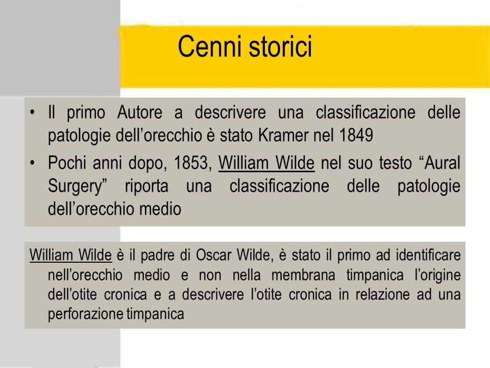 Cenni storici Il primo Autore a descrivere una classificazione delle patologie dell'orecchio è stato Kramer nel 1849.