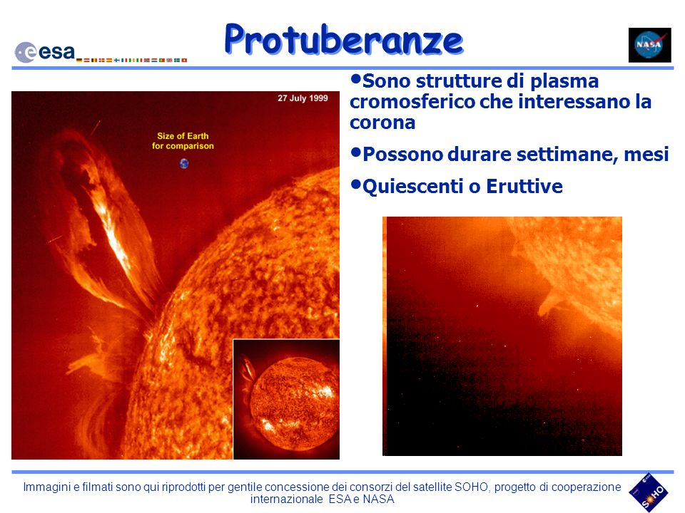 Protuberanze Sono strutture di plasma cromosferico che interessano la corona. Possono durare settimane, mesi.