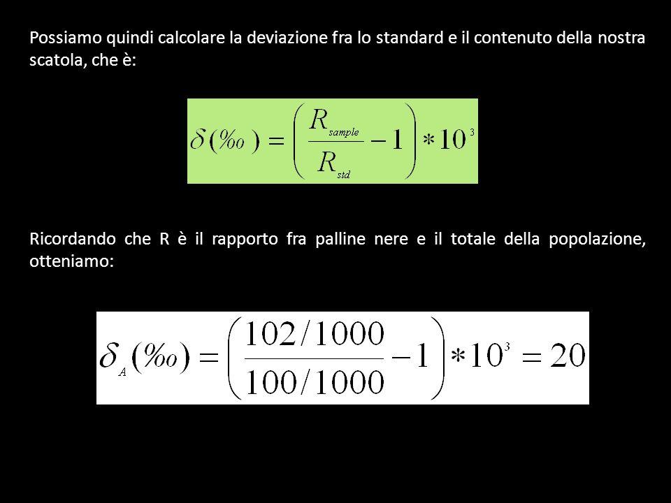 Possiamo quindi calcolare la deviazione fra lo standard e il contenuto della nostra scatola, che è: