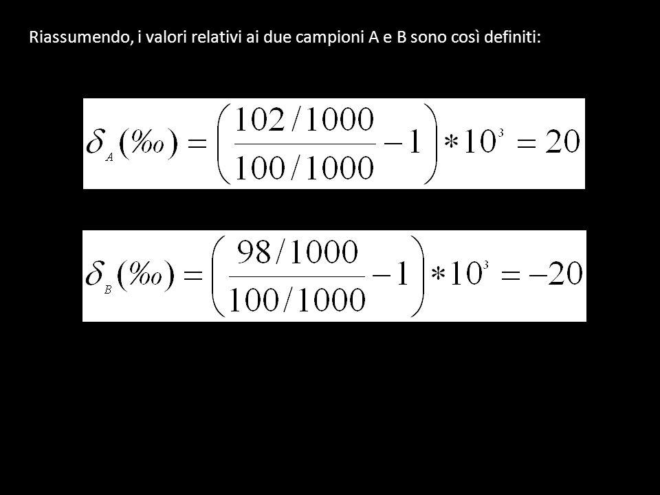 Riassumendo, i valori relativi ai due campioni A e B sono così definiti:
