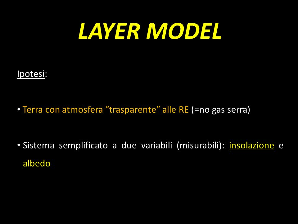 LAYER MODEL Ipotesi: Terra con atmosfera trasparente alle RE (=no gas serra)