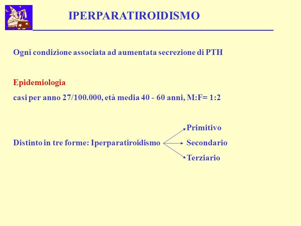 IPERPARATIROIDISMO Ogni condizione associata ad aumentata secrezione di PTH. Epidemiologia.
