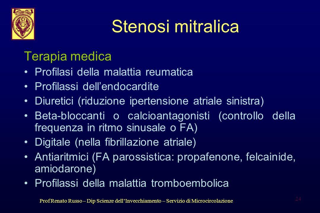 Stenosi mitralica Terapia medica Profilasi della malattia reumatica