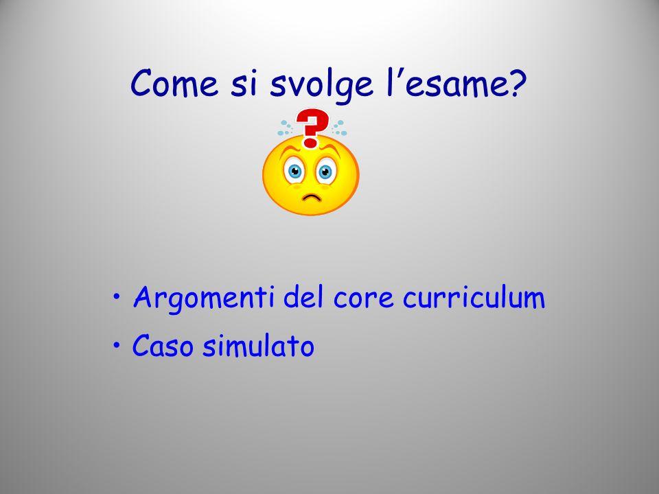 Come si svolge l'esame Argomenti del core curriculum Caso simulato