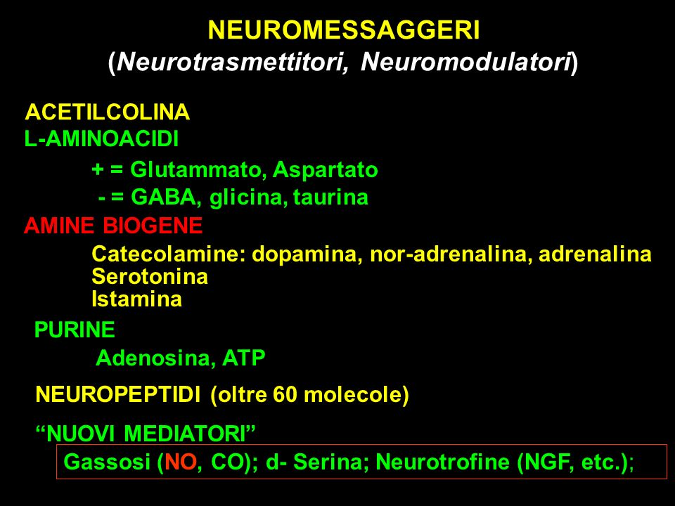 NEUROMESSAGGERI (Neurotrasmettitori, Neuromodulatori)