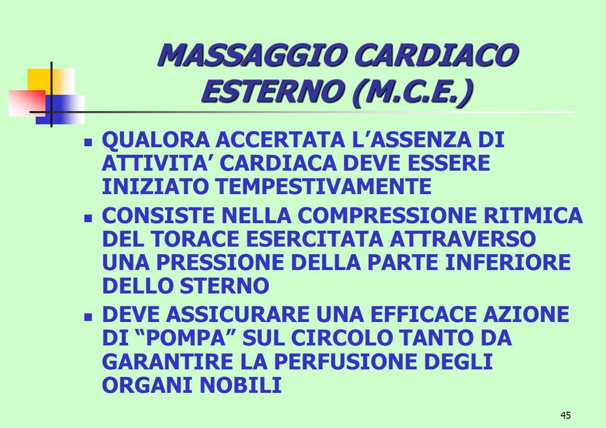 MASSAGGIO CARDIACO ESTERNO (M.C.E.)