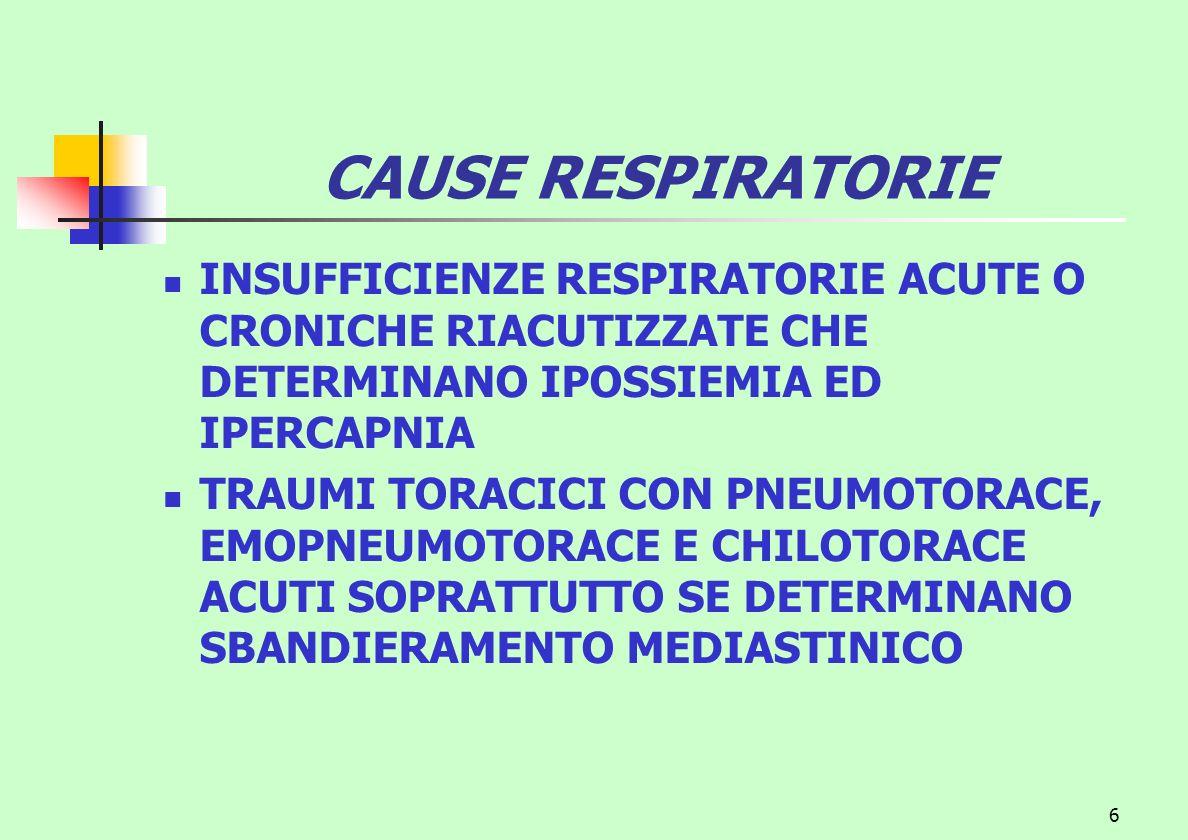 CAUSE RESPIRATORIE INSUFFICIENZE RESPIRATORIE ACUTE O CRONICHE RIACUTIZZATE CHE DETERMINANO IPOSSIEMIA ED IPERCAPNIA.