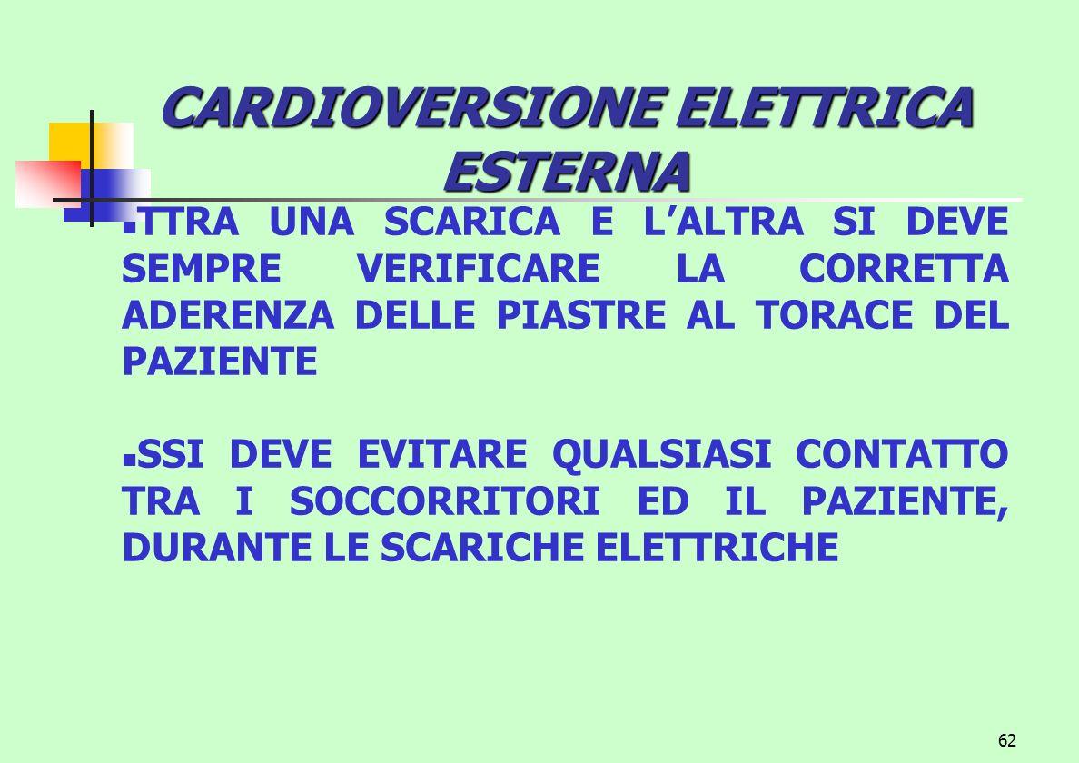 CARDIOVERSIONE ELETTRICA ESTERNA