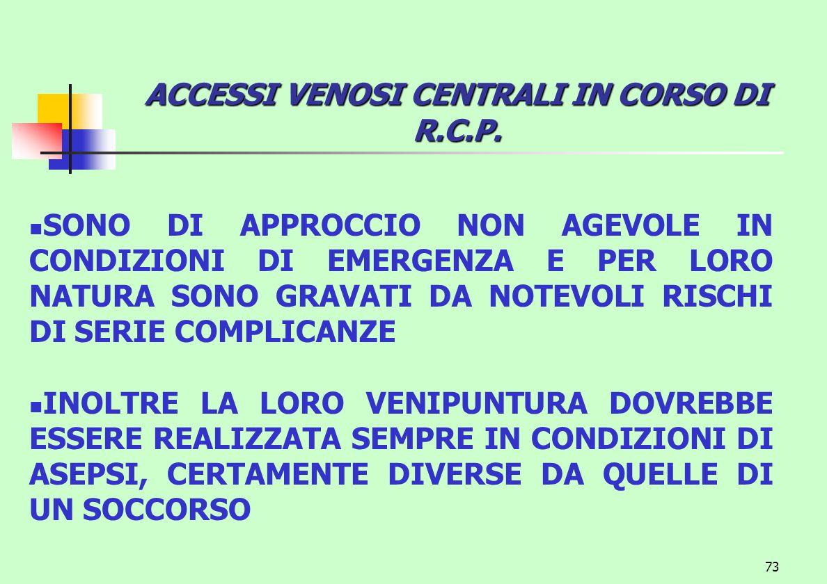 ACCESSI VENOSI CENTRALI IN CORSO DI R.C.P.