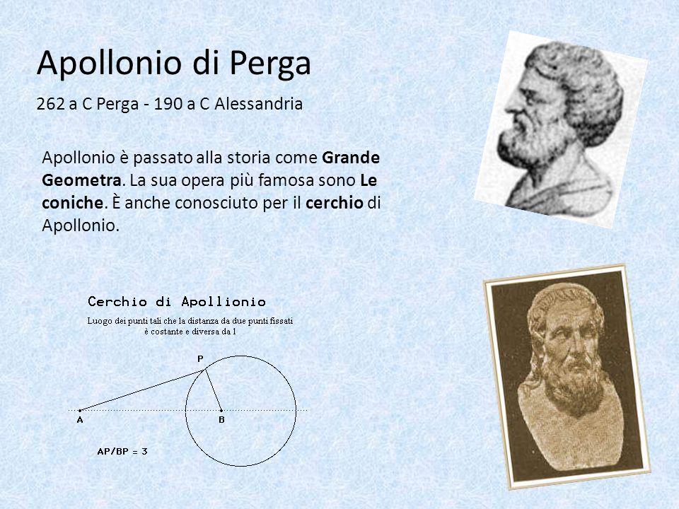 Apollonio di Perga 262 a C Perga - 190 a C Alessandria