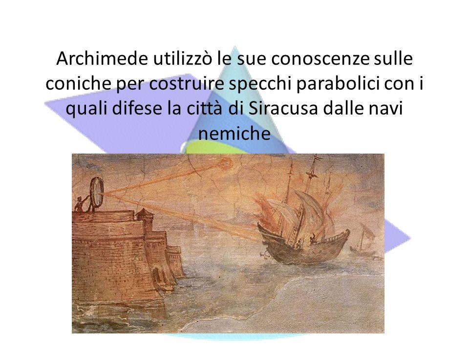 Archimede utilizzò le sue conoscenze sulle coniche per costruire specchi parabolici con i quali difese la città di Siracusa dalle navi nemiche