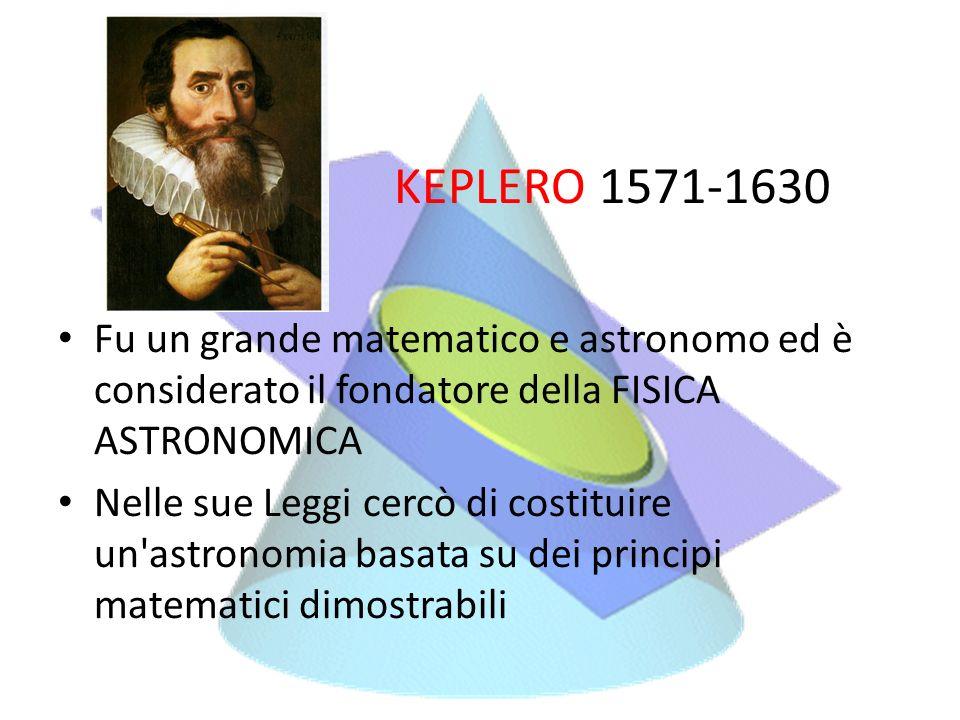 KEPLERO 1571-1630 Fu un grande matematico e astronomo ed è considerato il fondatore della FISICA ASTRONOMICA.