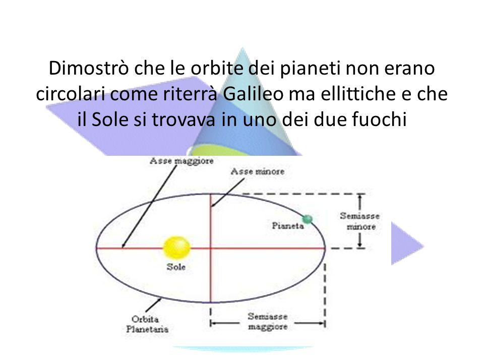 Dimostrò che le orbite dei pianeti non erano circolari come riterrà Galileo ma ellittiche e che il Sole si trovava in uno dei due fuochi