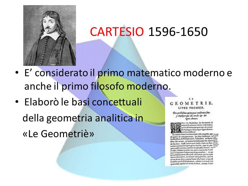 CARTESIO 1596-1650 E' considerato il primo matematico moderno e anche il primo filosofo moderno. Elaborò le basi concettuali.