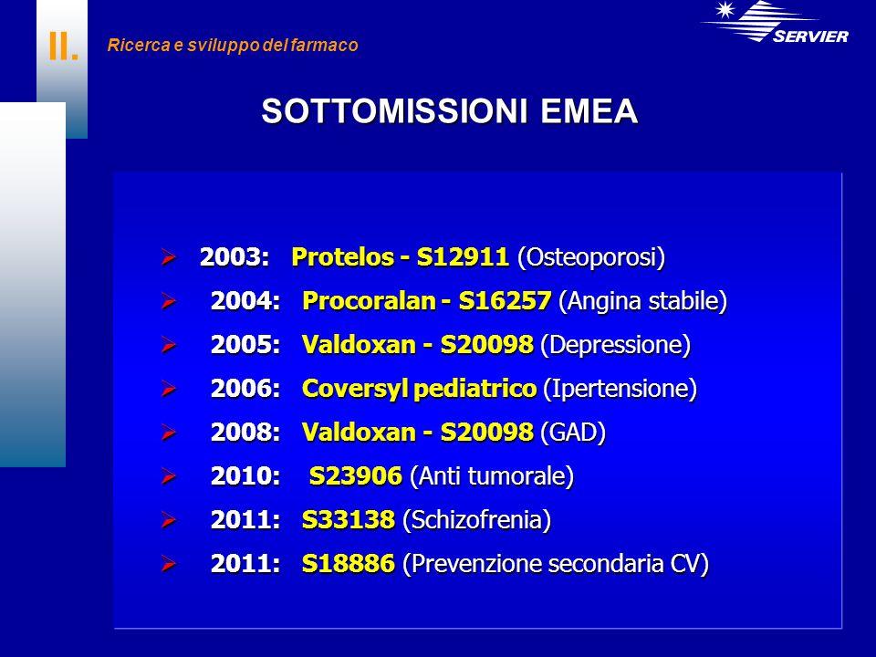 II. SOTTOMISSIONI EMEA 2003: Protelos - S12911 (Osteoporosi)
