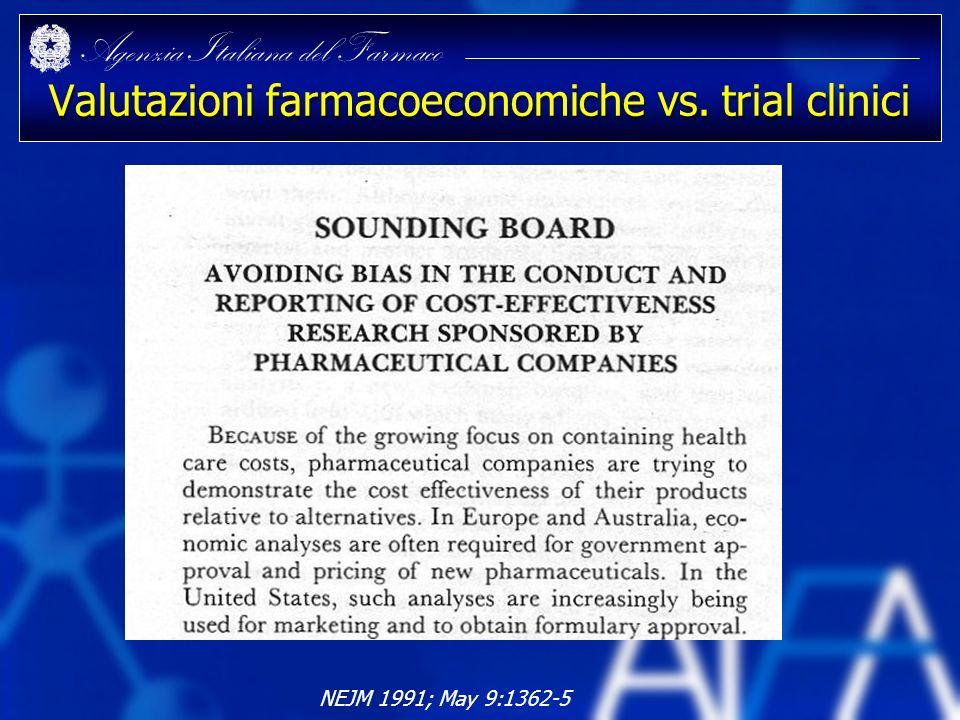 Valutazioni farmacoeconomiche vs. trial clinici