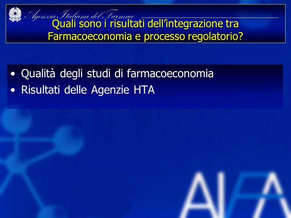 Qualità degli studi di farmacoeconomia Risultati delle Agenzie HTA